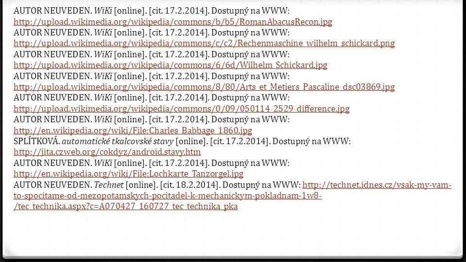AUTOR NEUVEDEN. WiKi [online]. [cit. 17. 2. 2014]